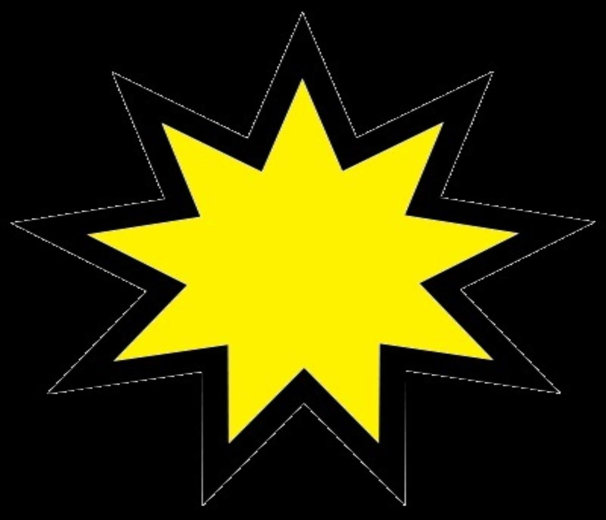 A dark and yellow nine star pointed at wisdomgame
