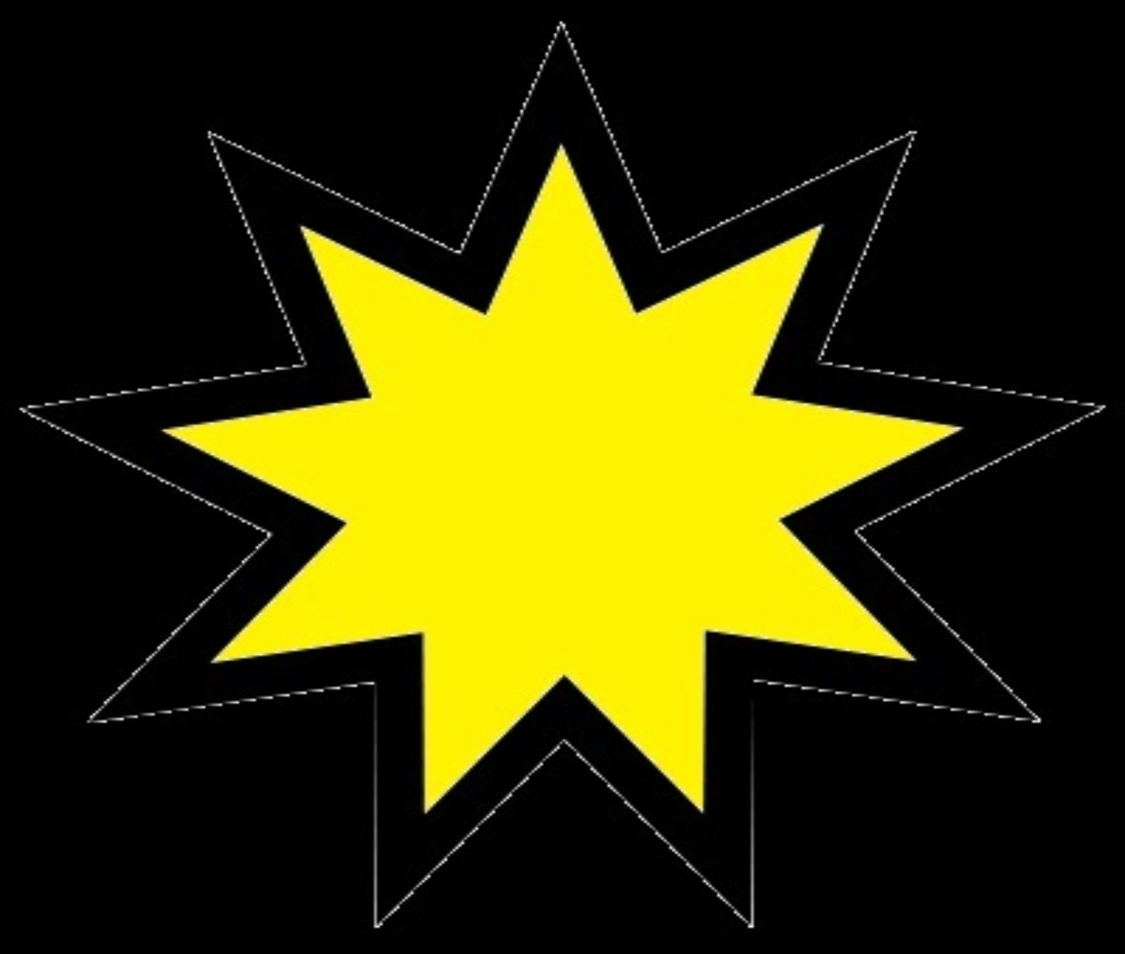 Nine pointed bright yellow stars for wisdomgame.org